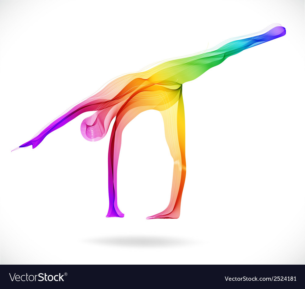 Yoga pose abstract color vector | Price: 1 Credit (USD $1)