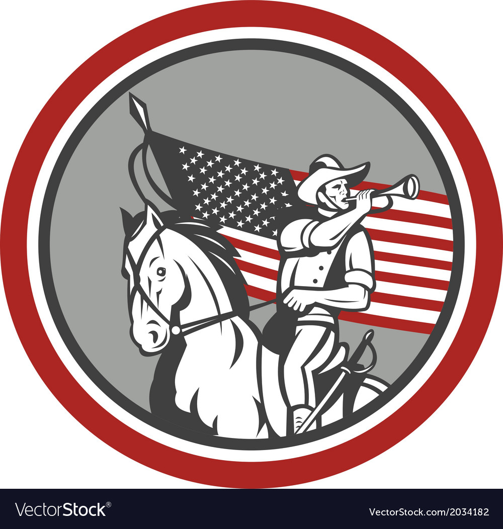 American cavalry soldier blowing bugle circle vector   Price: 1 Credit (USD $1)