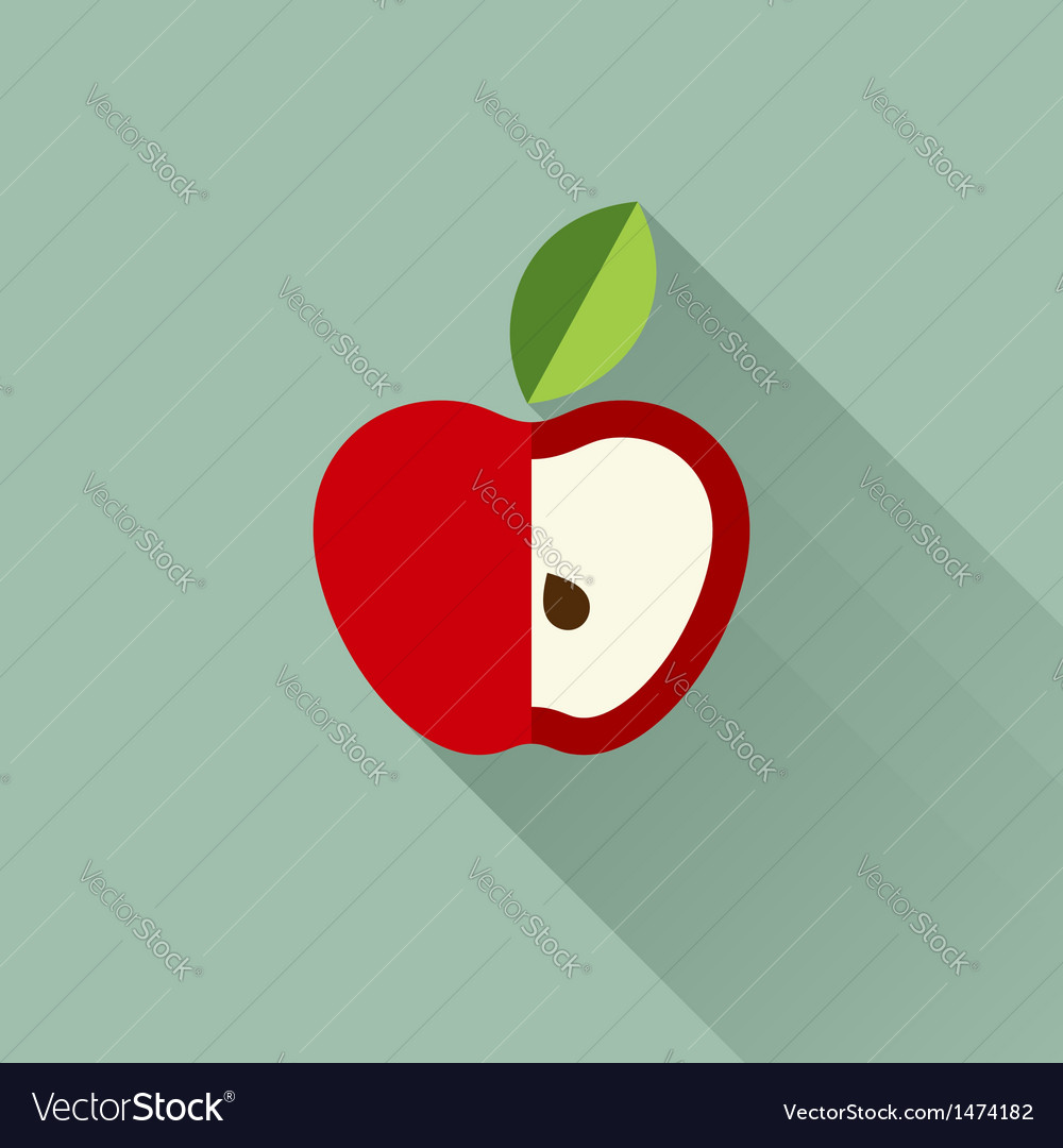 Apple with leaf vector | Price: 1 Credit (USD $1)
