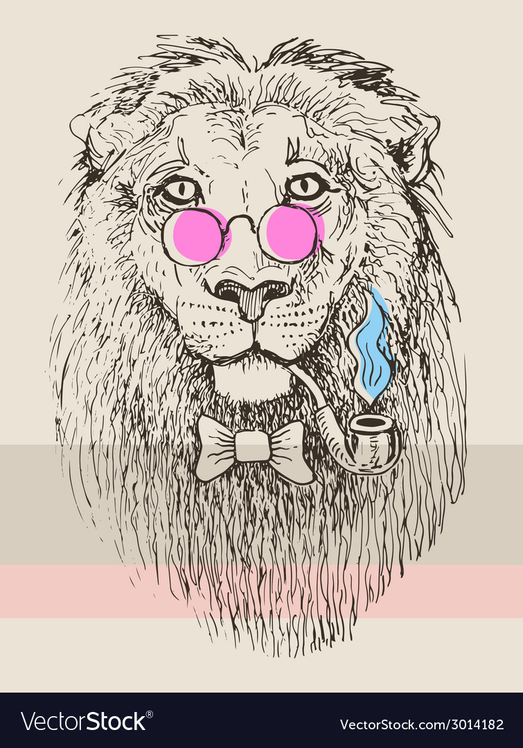 Artwork of hipster lion smoking tube in pink vector | Price: 1 Credit (USD $1)