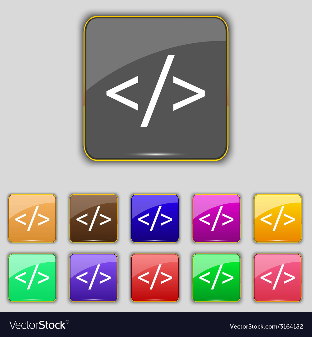 Code sign icon programming language symbol set of vector | Price: 1 Credit (USD $1)