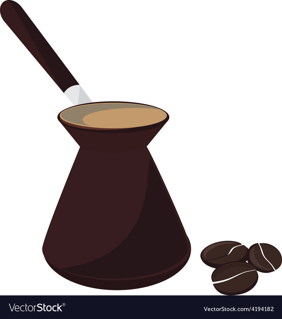 Coffee pot and beans vector | Price: 1 Credit (USD $1)