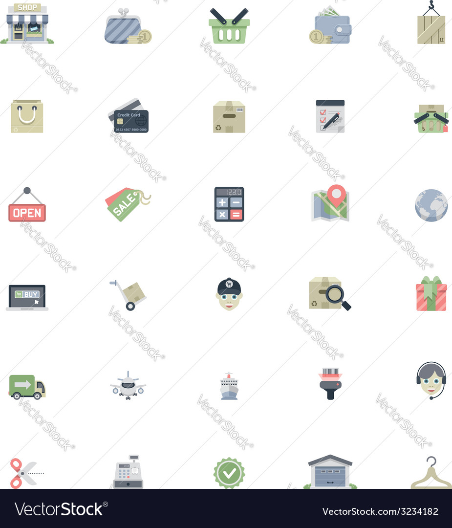 Flat shopping icon set vector | Price: 1 Credit (USD $1)
