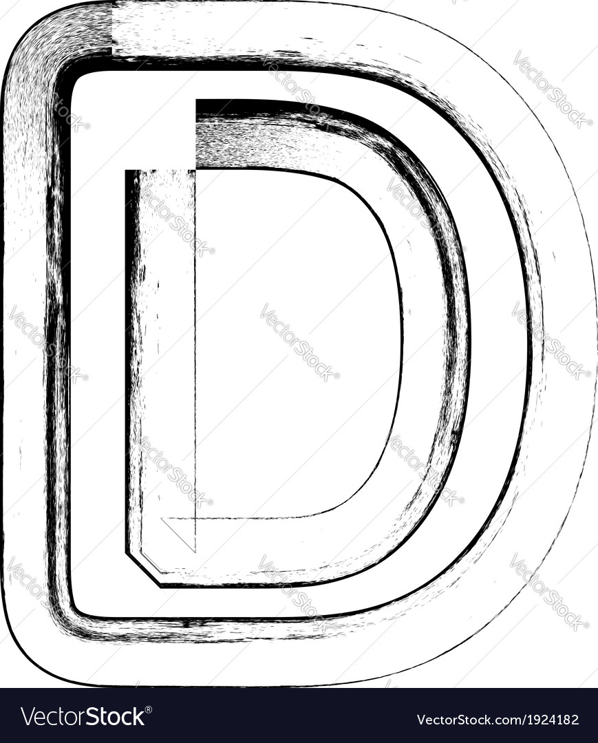 Grunge font letter d vector | Price: 1 Credit (USD $1)
