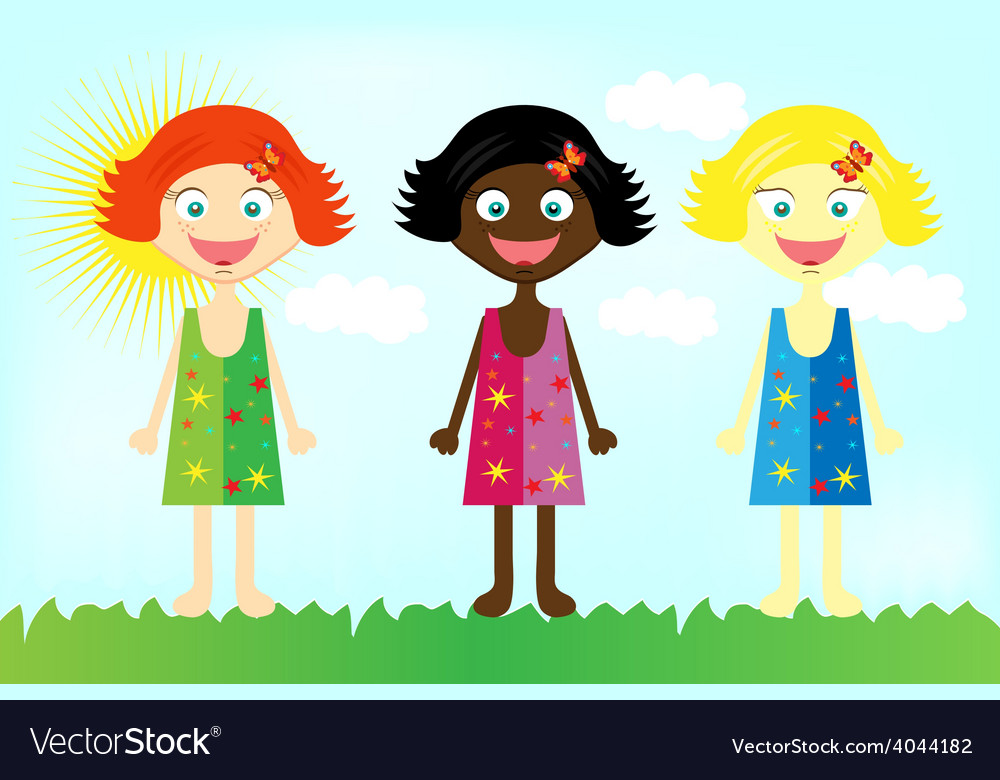 Happy colorful girls from all over the world vector | Price: 1 Credit (USD $1)
