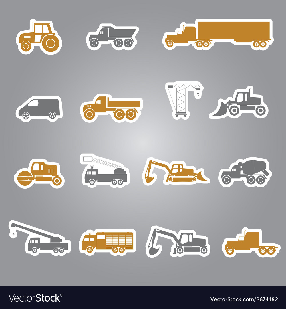 Heavy machinery stickers set eps10 vector | Price: 1 Credit (USD $1)