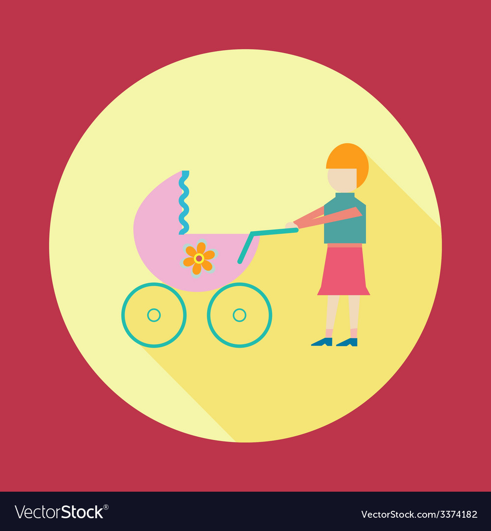 Mother with baby in stroller vector | Price: 1 Credit (USD $1)