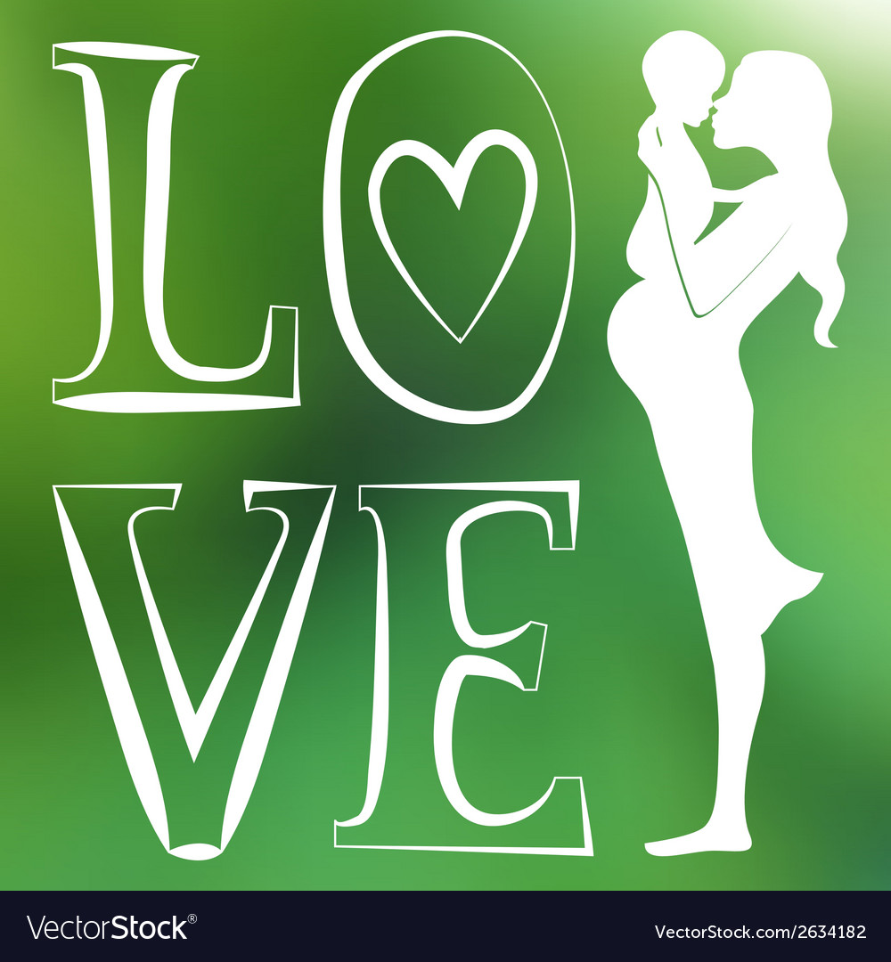Mother with baby one color green blurred vector | Price: 1 Credit (USD $1)