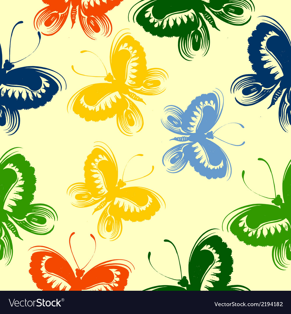 Seamless floral pattern butterfly vector | Price: 1 Credit (USD $1)