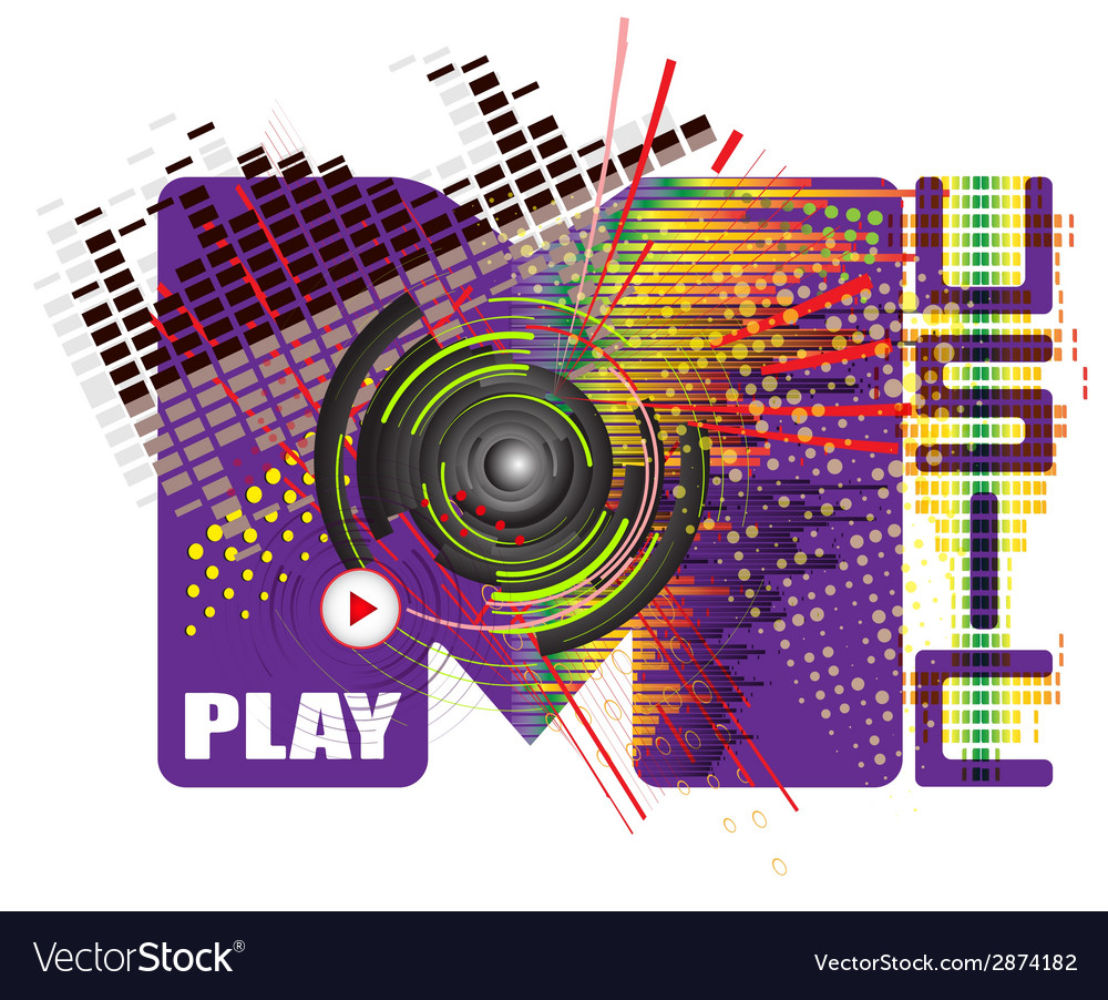 Stylized word with music abstract colored backgrou vector | Price: 1 Credit (USD $1)