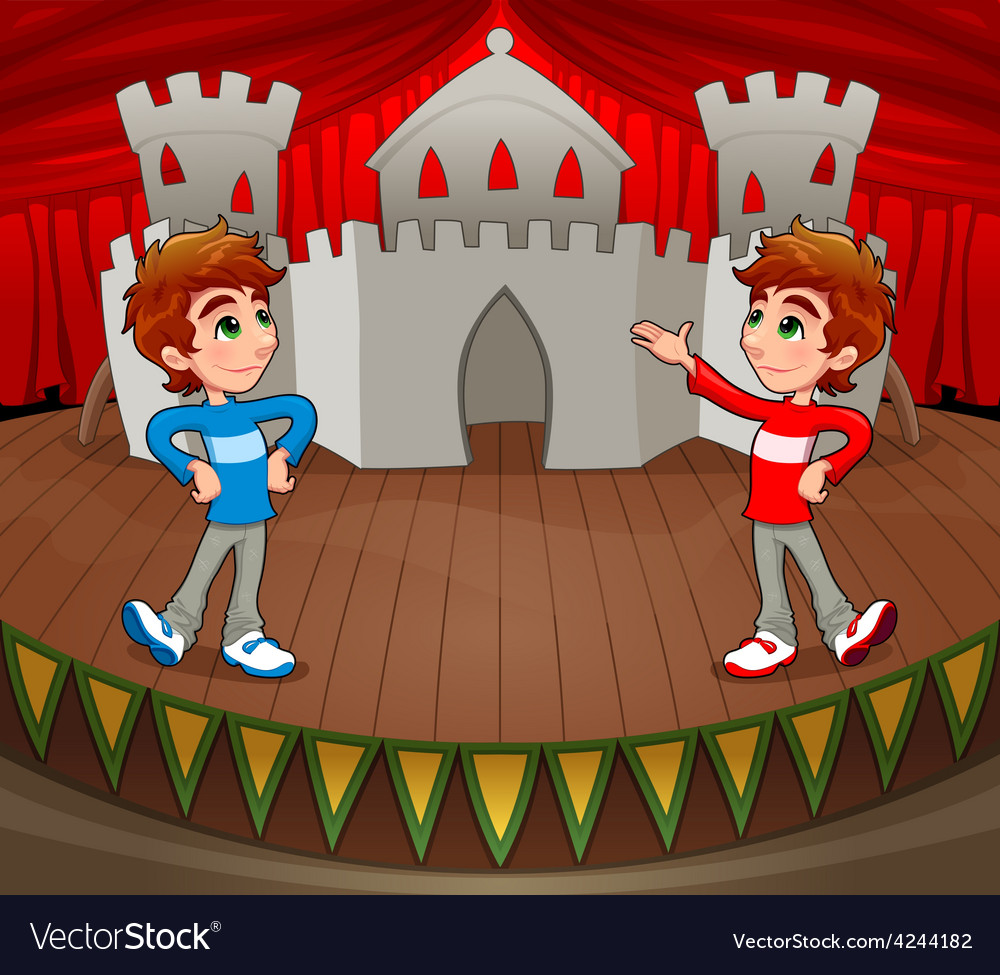Twins are acting on the stage vector | Price: 1 Credit (USD $1)
