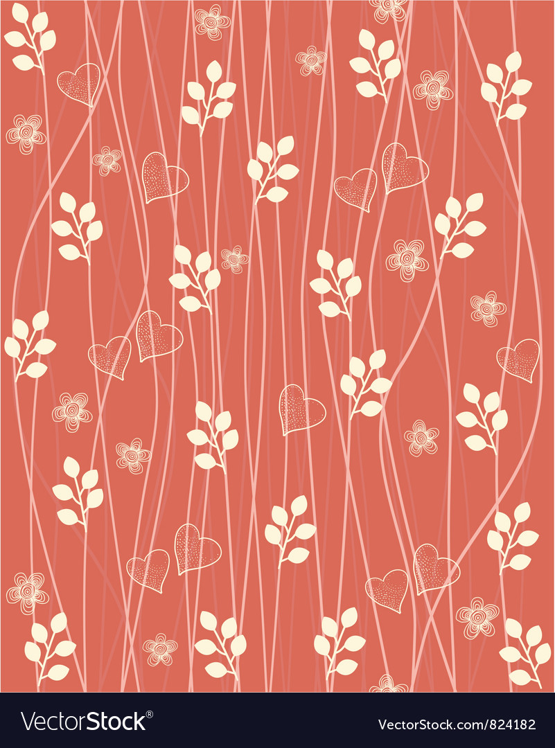Valentines foliage pattern vector | Price: 1 Credit (USD $1)