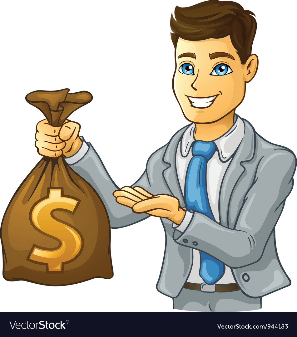 Business man holding money bag vector | Price: 3 Credit (USD $3)
