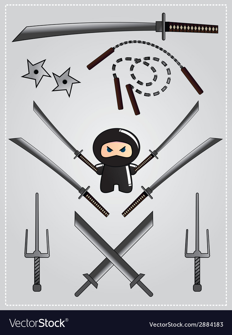 Collection of ninja weapon with cute ninja vector | Price: 1 Credit (USD $1)