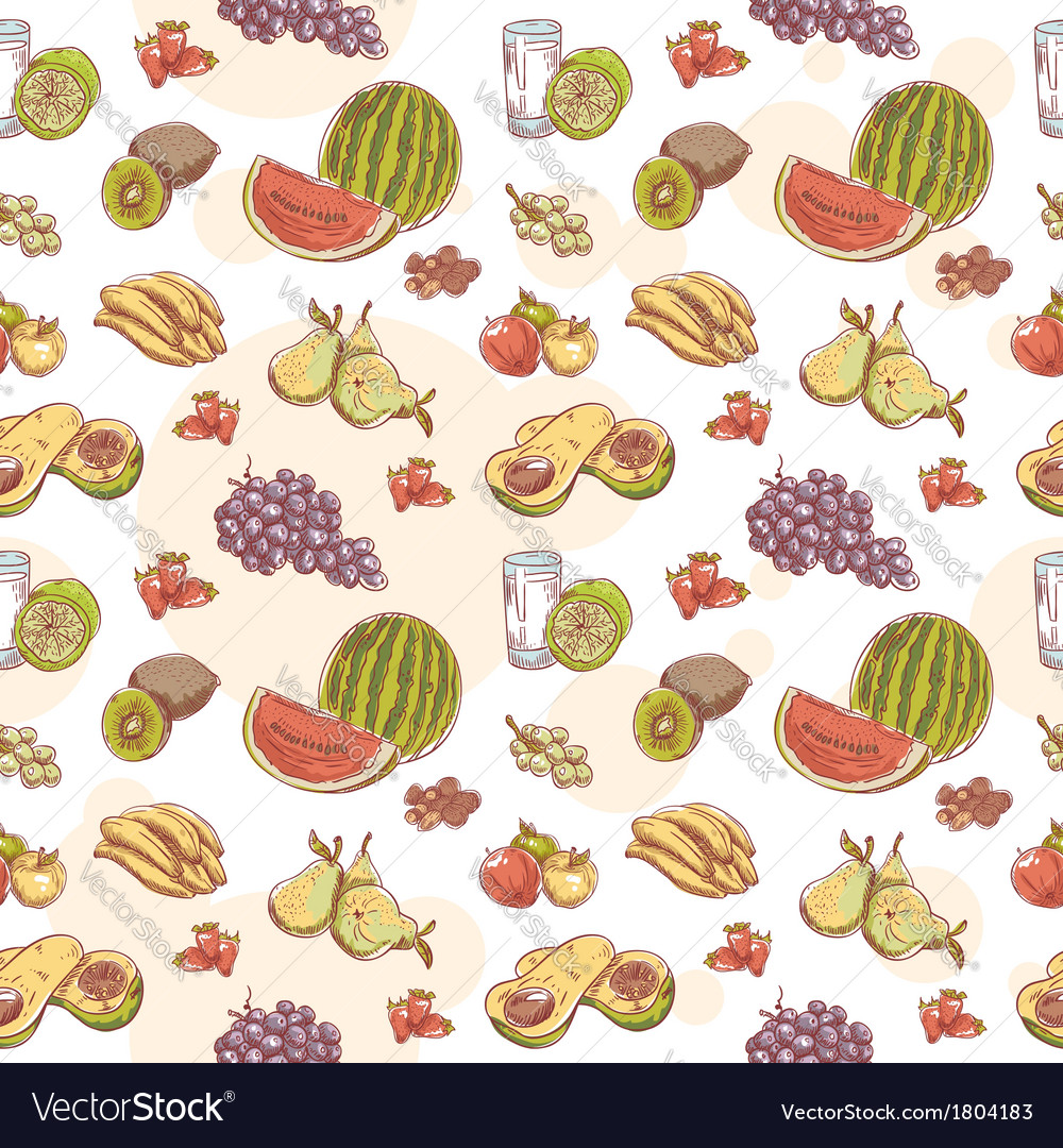 Fresh fruit hand drawn seamless pattern vector | Price: 1 Credit (USD $1)