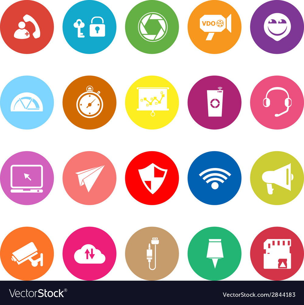 Smart phone screen flat icons on white background vector | Price: 1 Credit (USD $1)