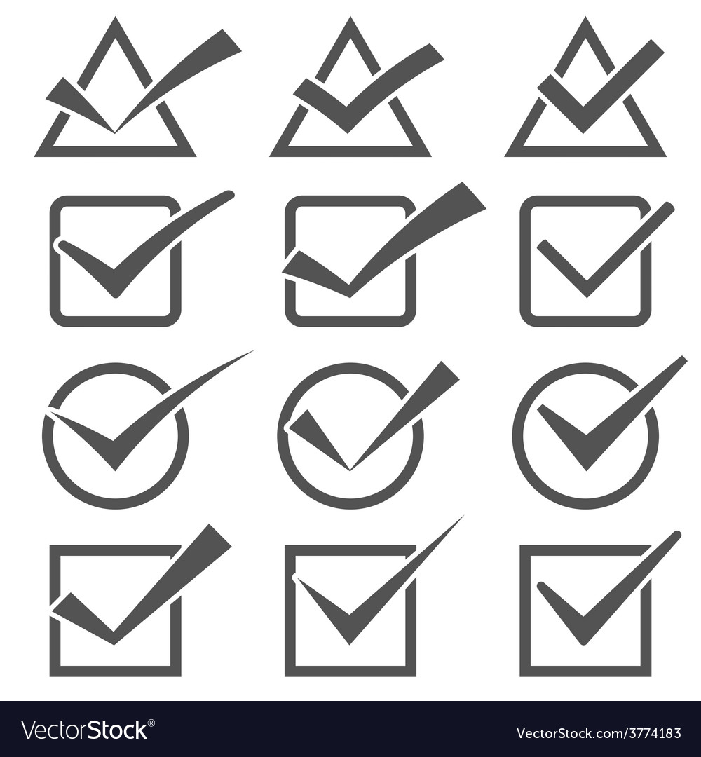 Twelve different grey check marks confirm icons vector | Price: 1 Credit (USD $1)