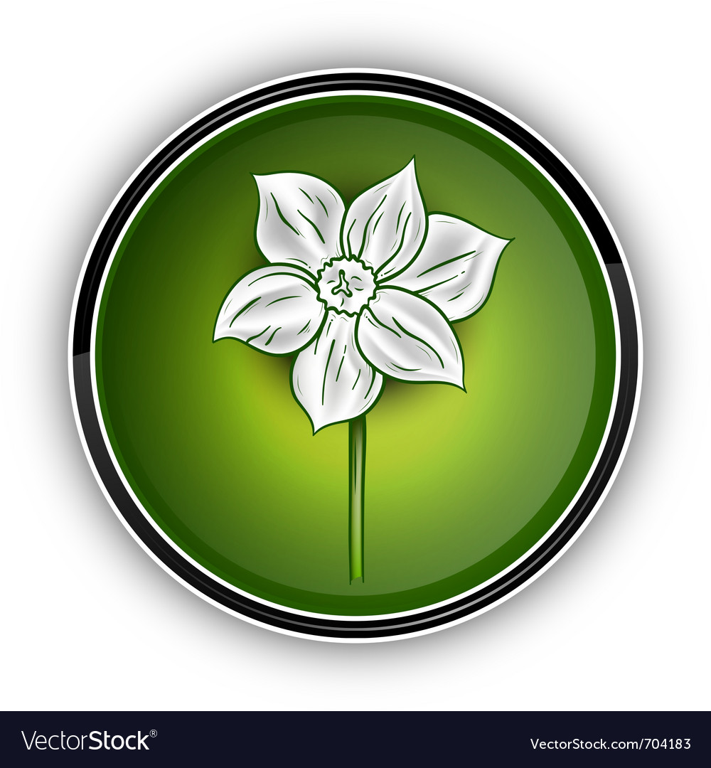 White flower on the green symbol vector | Price: 1 Credit (USD $1)