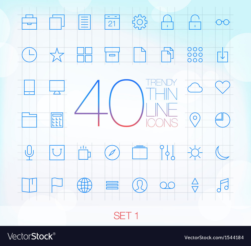 40 trendy thin icons for web and mobile set 1 vector | Price: 1 Credit (USD $1)