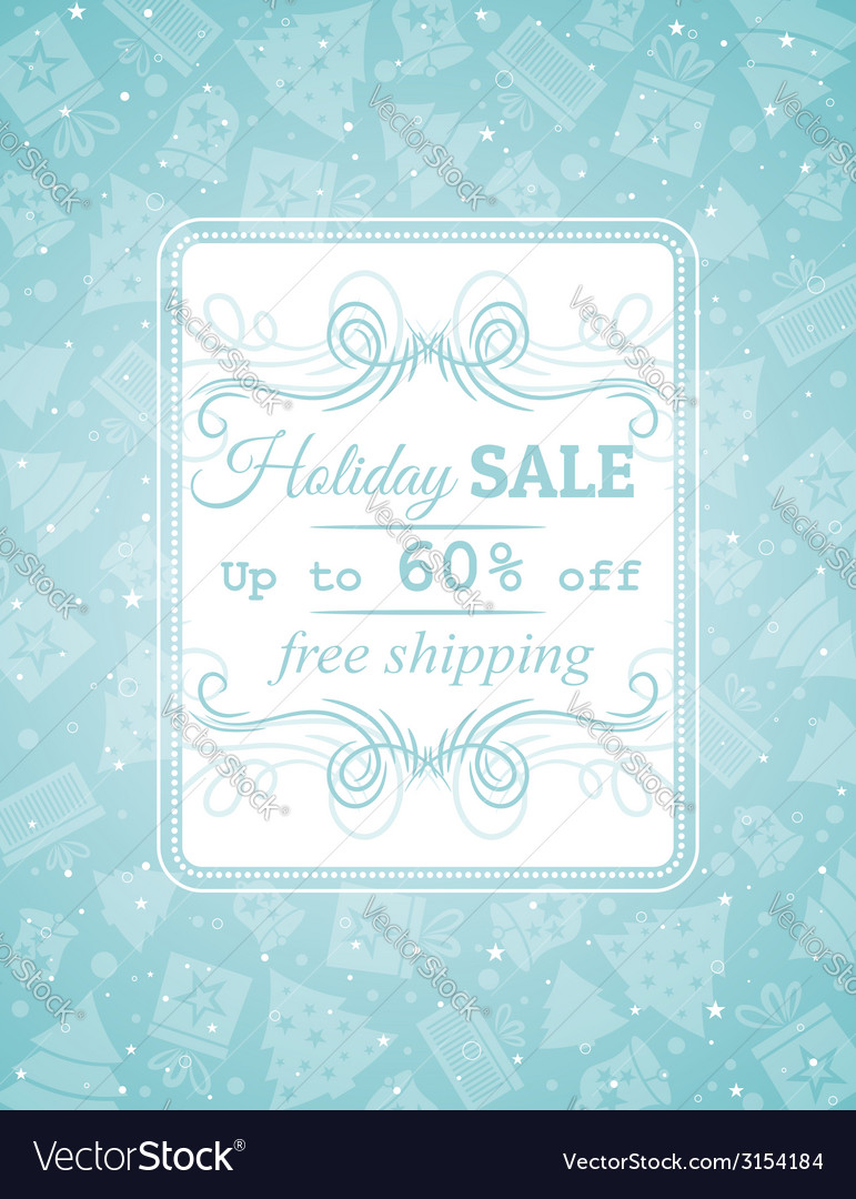 Blue christmas background and label with sale offe vector | Price: 1 Credit (USD $1)