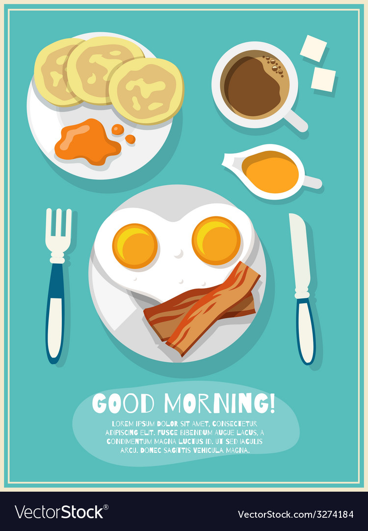 Breakfast icon poster vector | Price: 1 Credit (USD $1)