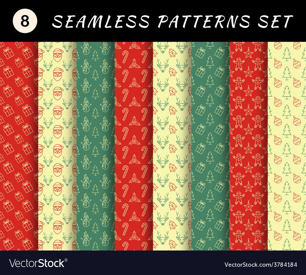 Christmas seamless patterns set geometric vector | Price: 1 Credit (USD $1)