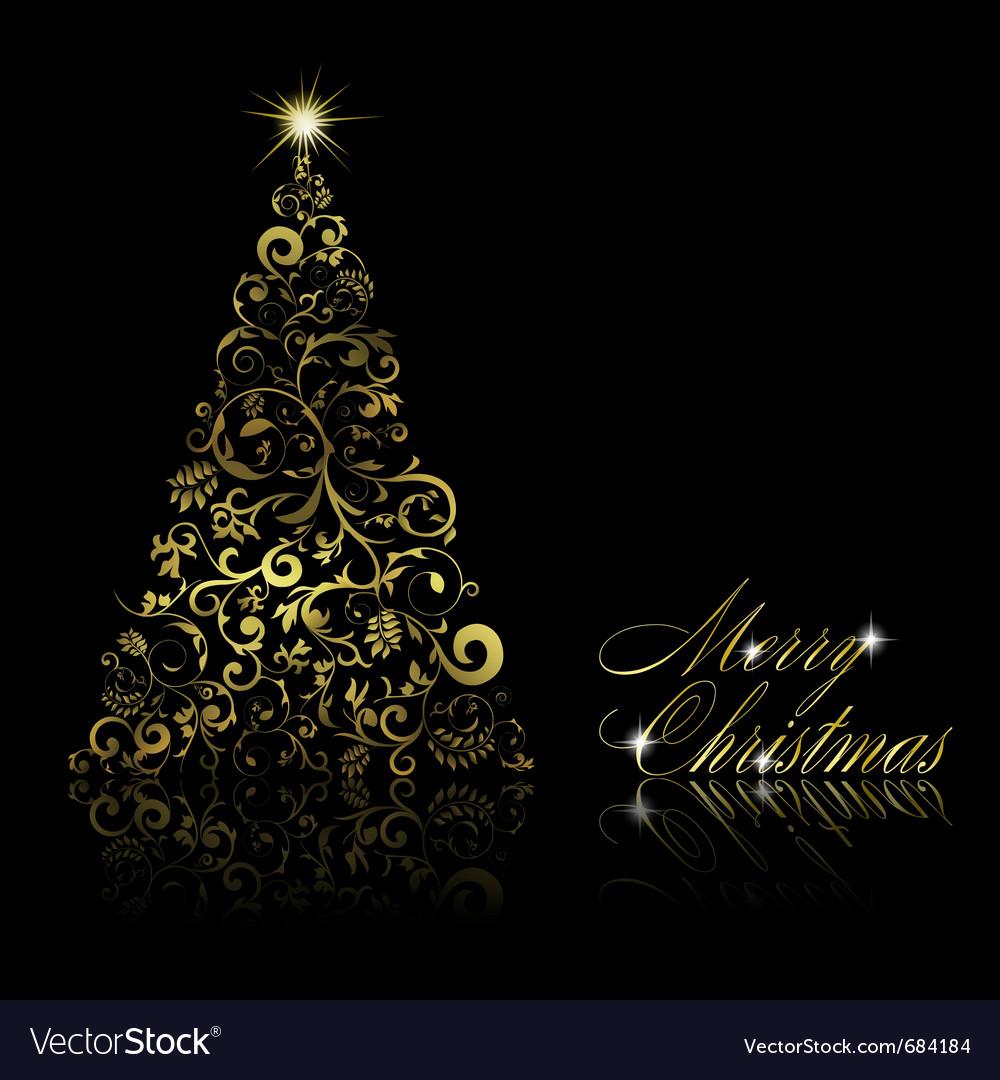 Christmas tree with swirls vector | Price: 1 Credit (USD $1)