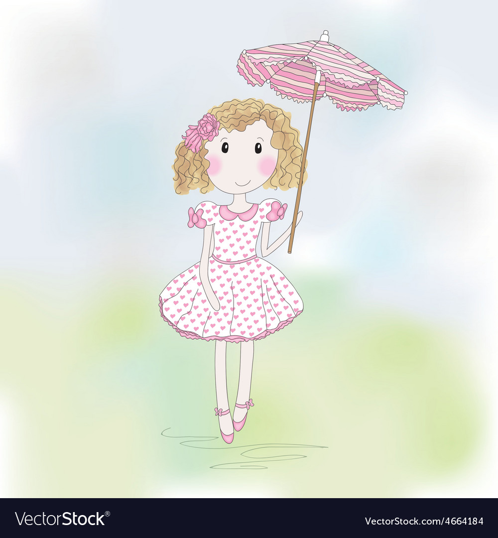 Cute little girl with umbrella vector | Price: 1 Credit (USD $1)