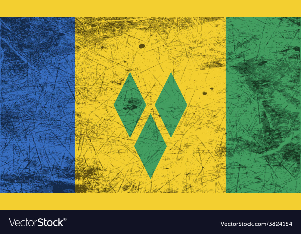 Flag of saint vincent and the grenadines with old vector | Price: 1 Credit (USD $1)