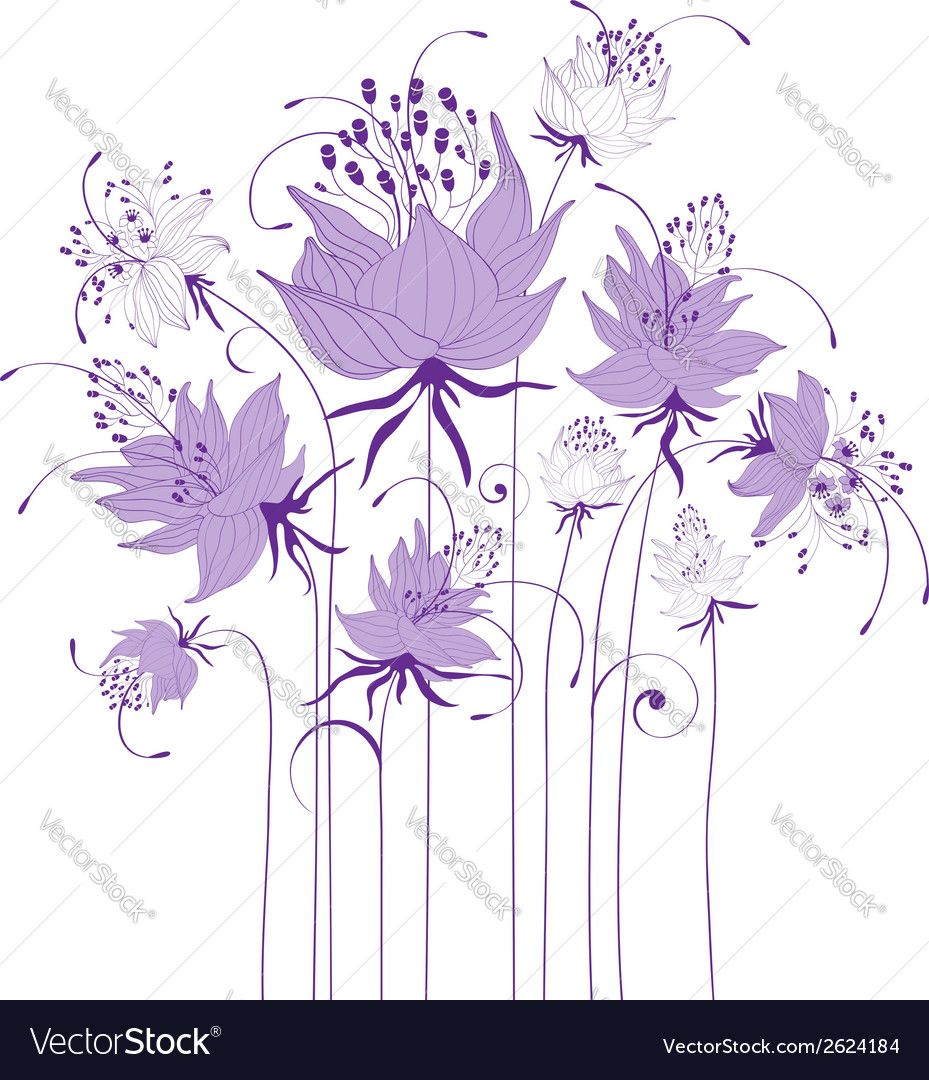 Floral design stylized flowers vector | Price: 1 Credit (USD $1)