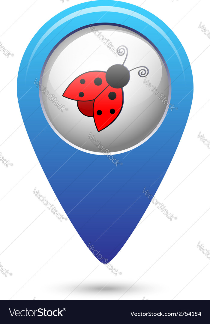 Map pointer with ladybug icon vector | Price: 1 Credit (USD $1)