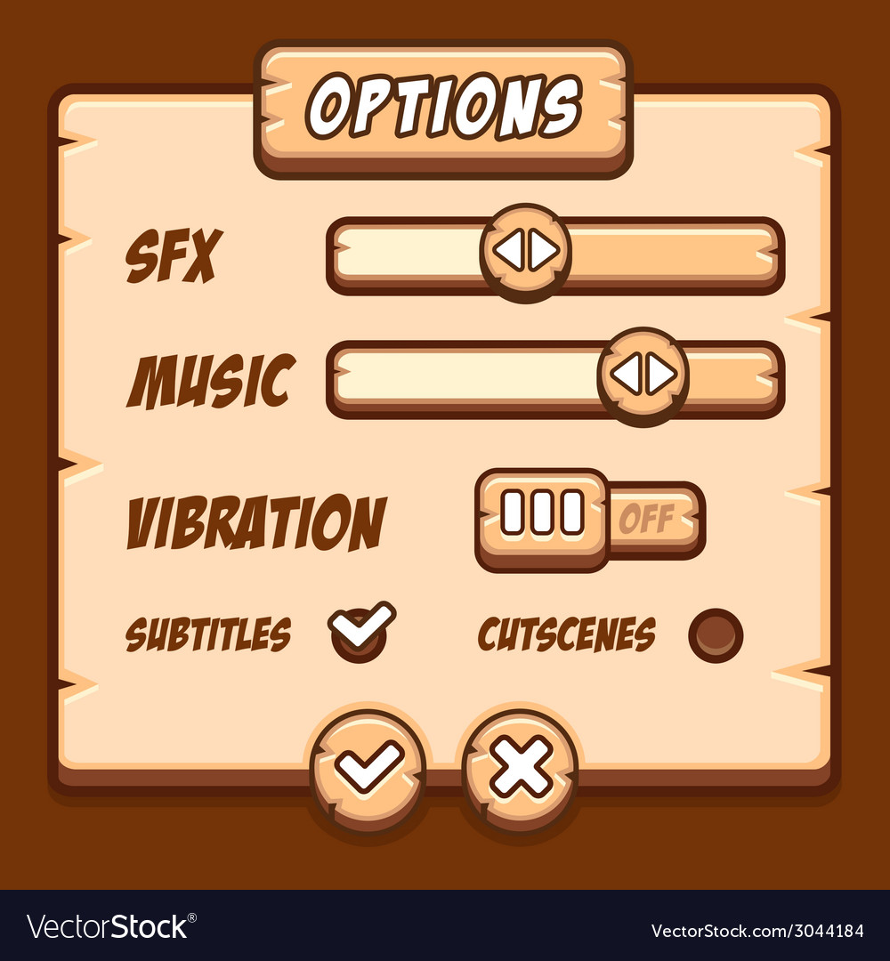 Option menu wooden style game buttons vector | Price: 1 Credit (USD $1)