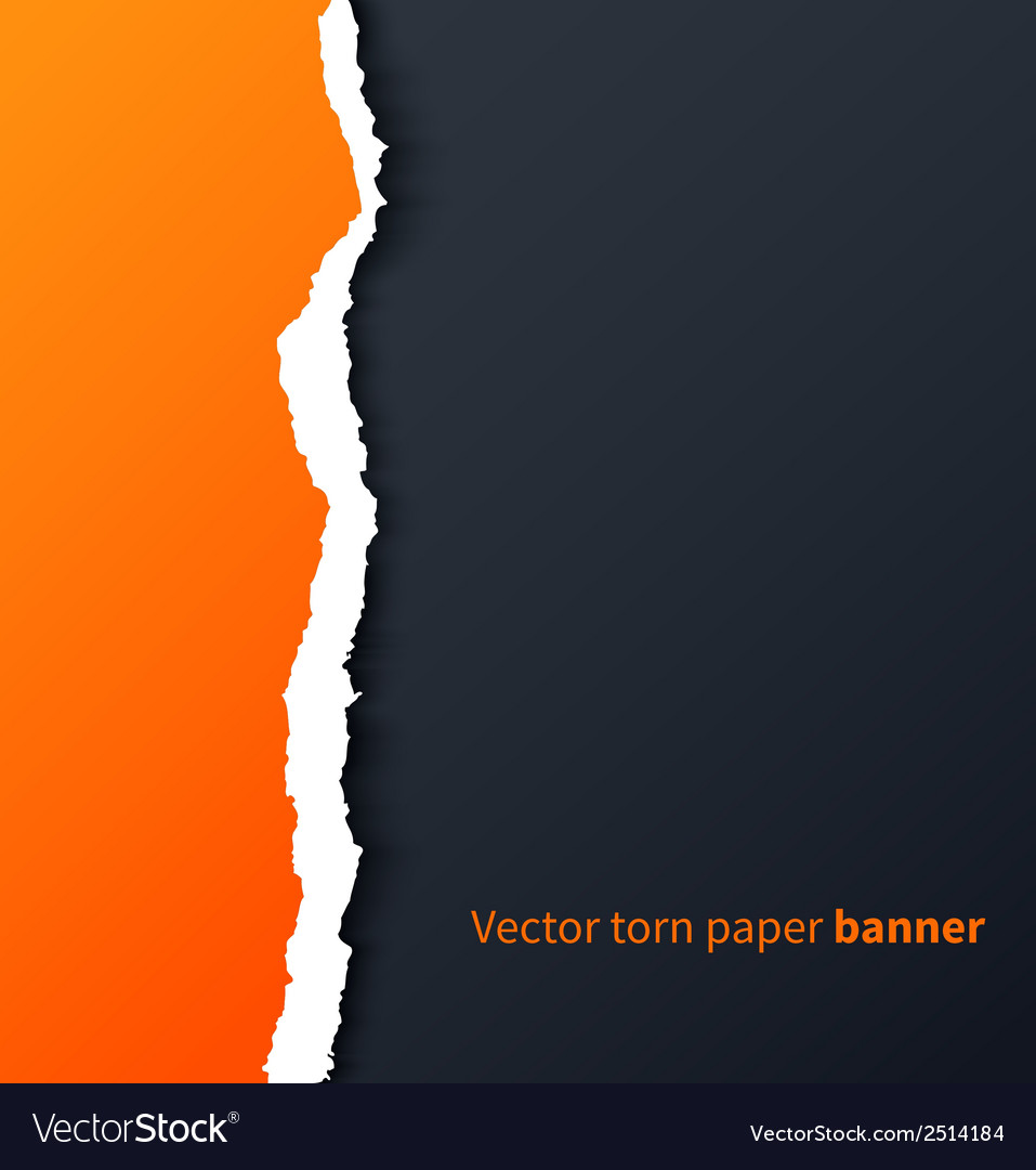 Orange torn paper with drop shadows on dark vector | Price: 1 Credit (USD $1)