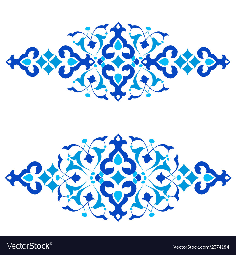 Ottoman motifs blue design series of fifty three vector | Price: 1 Credit (USD $1)