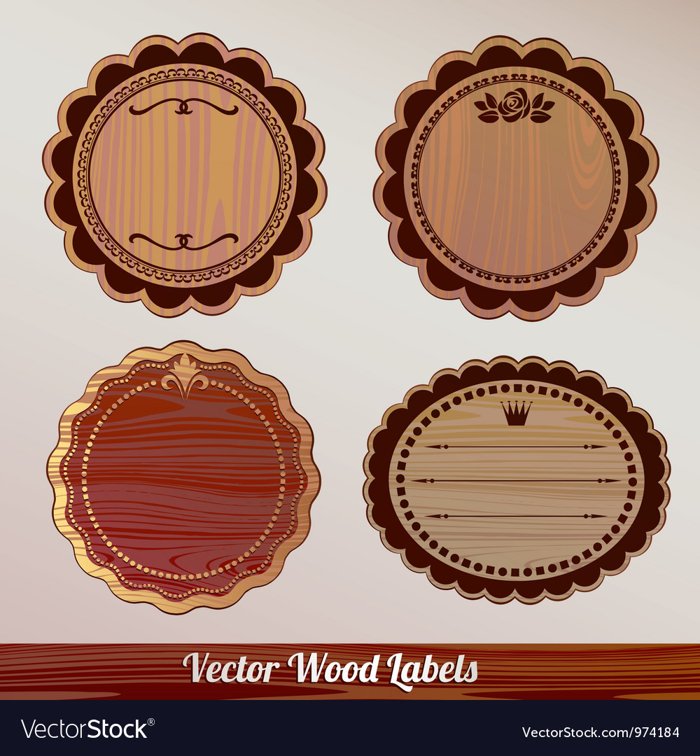 Set wooden labels classic vintage retro vector | Price: 1 Credit (USD $1)