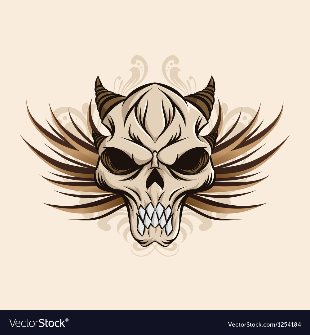 Skull-and-wings vector | Price: 3 Credit (USD $3)