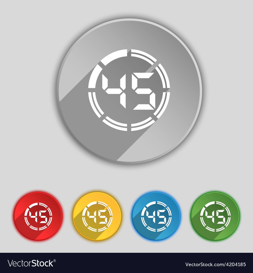45 second stopwatch icon sign symbol on five flat vector | Price: 1 Credit (USD $1)