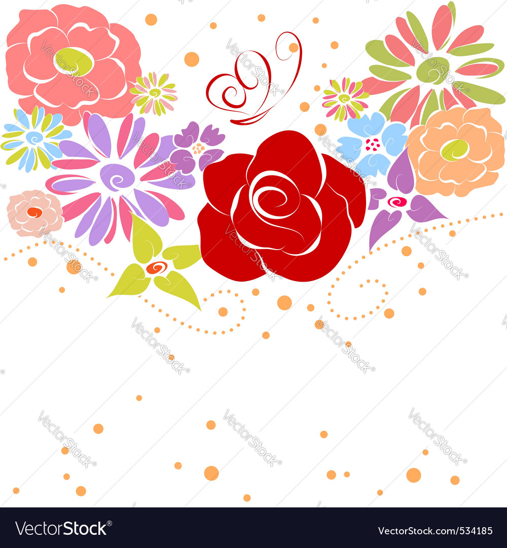 Abstract springtime colorful flowers on white back vector | Price:  Credit (USD $)