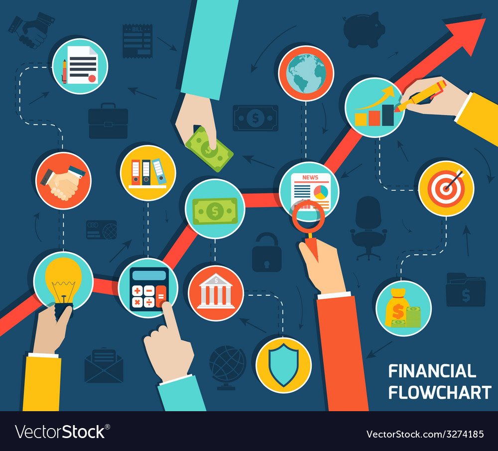 Business hands financial flowchart vector | Price: 1 Credit (USD $1)