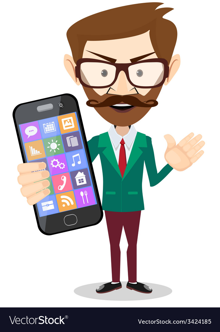 Businessman is holding in his hand smartphone vector | Price: 1 Credit (USD $1)