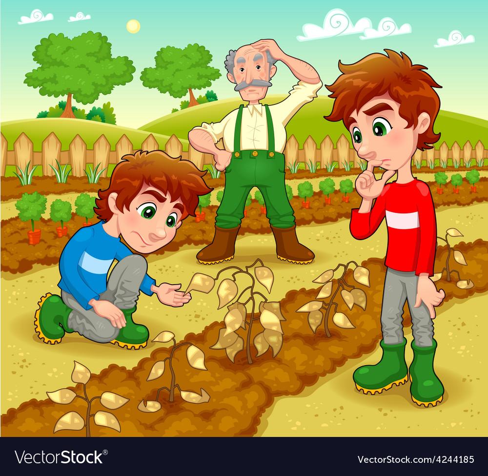 Funny scene in the vegetable garden vector | Price: 3 Credit (USD $3)