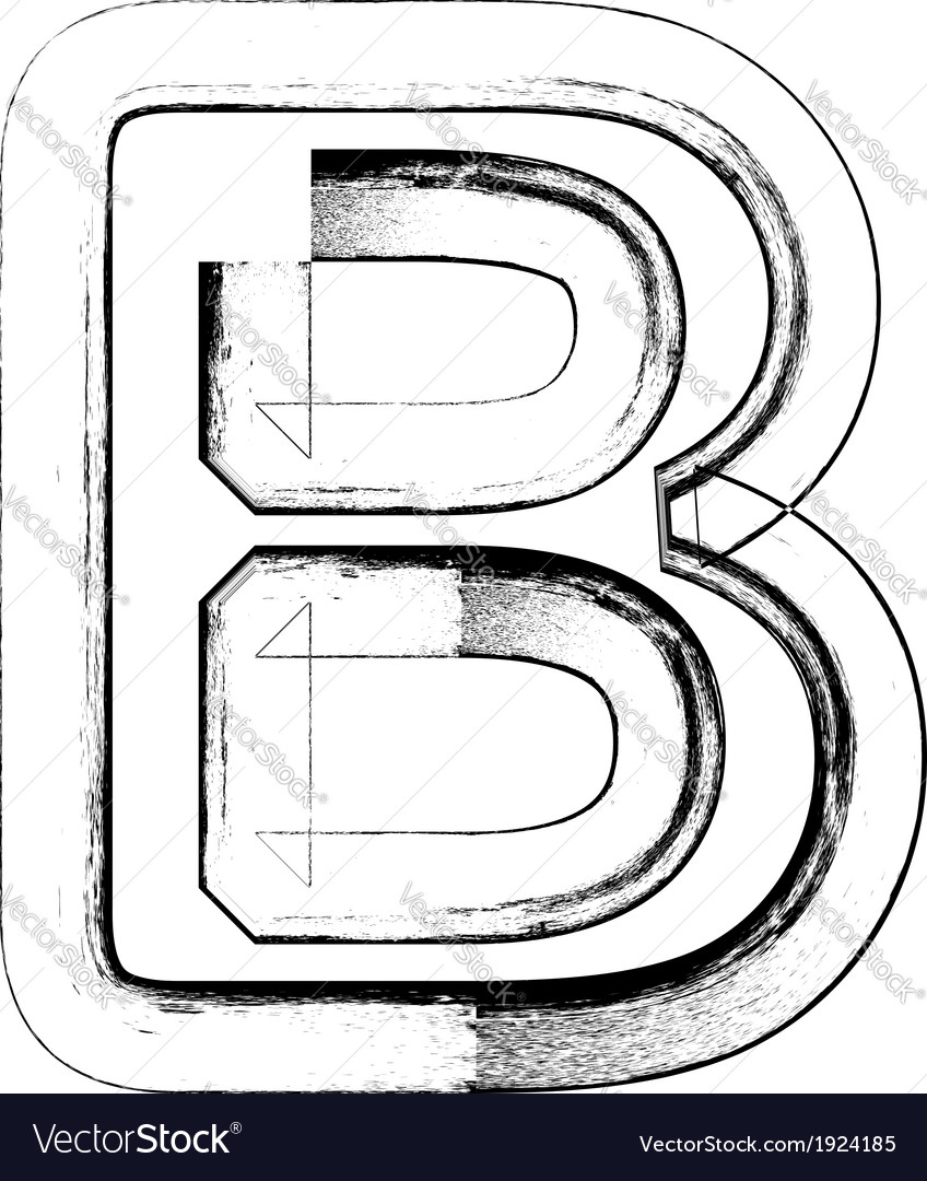 Grunge font letter b vector | Price: 1 Credit (USD $1)