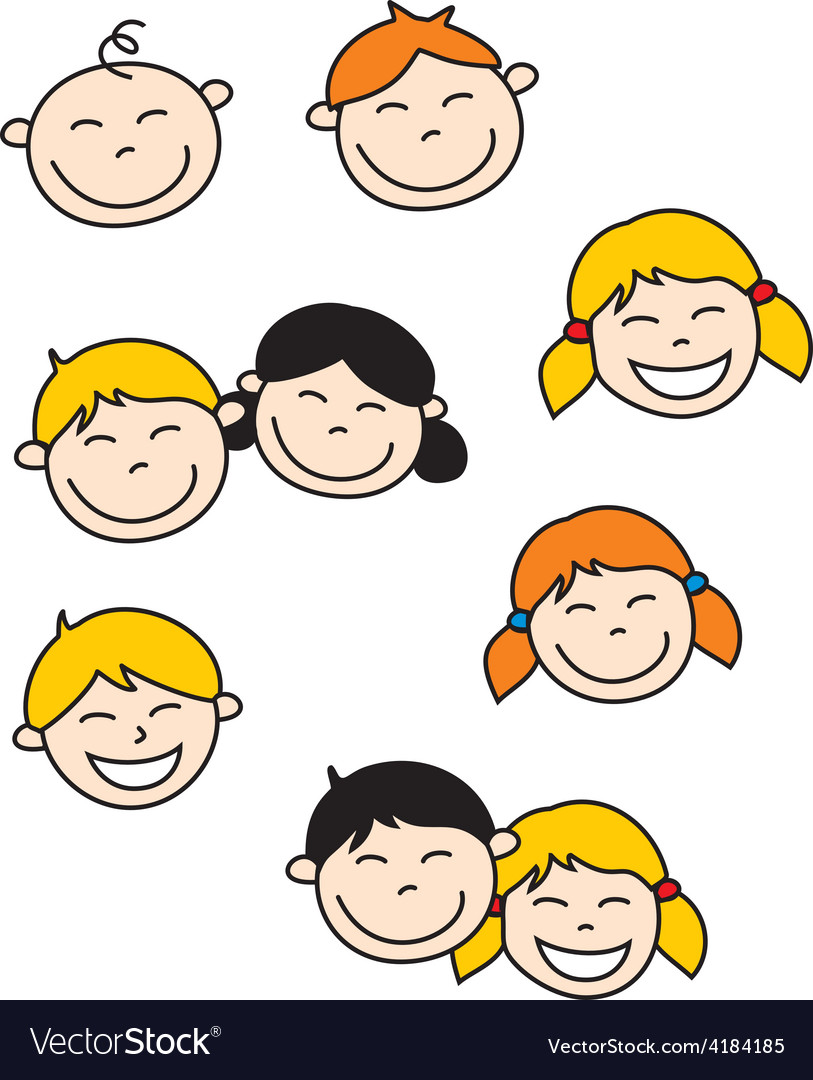 Happy kids and baby isolated on white background vector | Price: 1 Credit (USD $1)