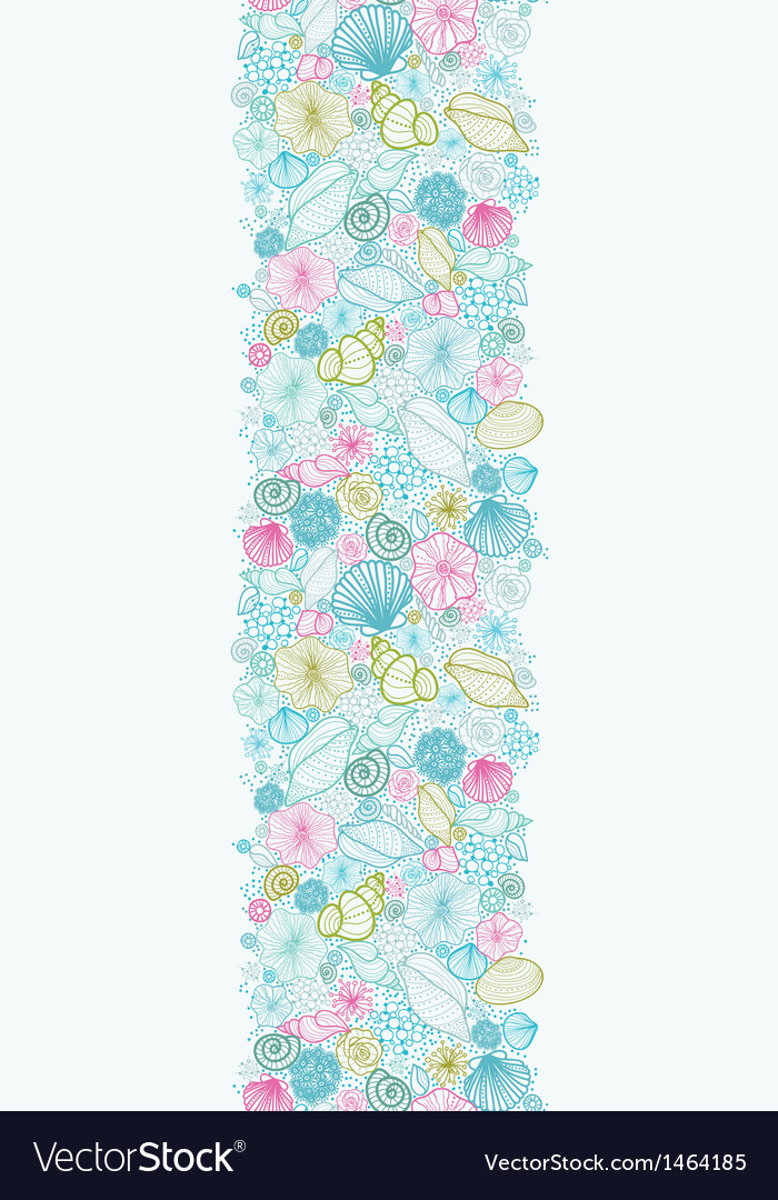 Seashells line art vertical seamless pattern vector | Price: 1 Credit (USD $1)