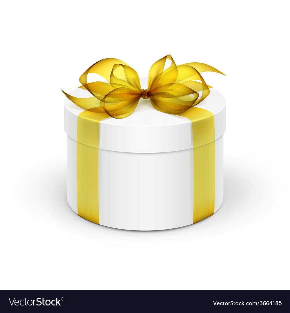 White round gift box with yellow ribbon and bow vector | Price: 1 Credit (USD $1)