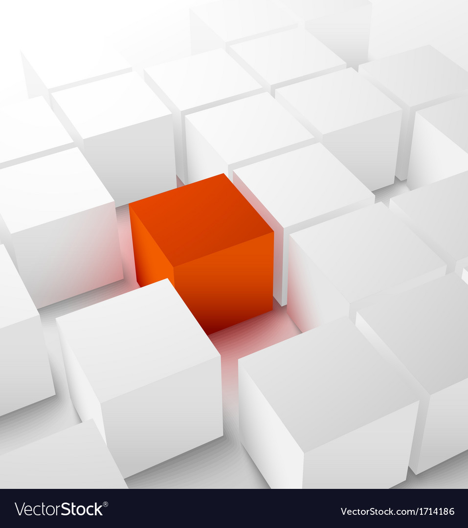 Abstract 3d cubic background with red cube vector | Price: 1 Credit (USD $1)