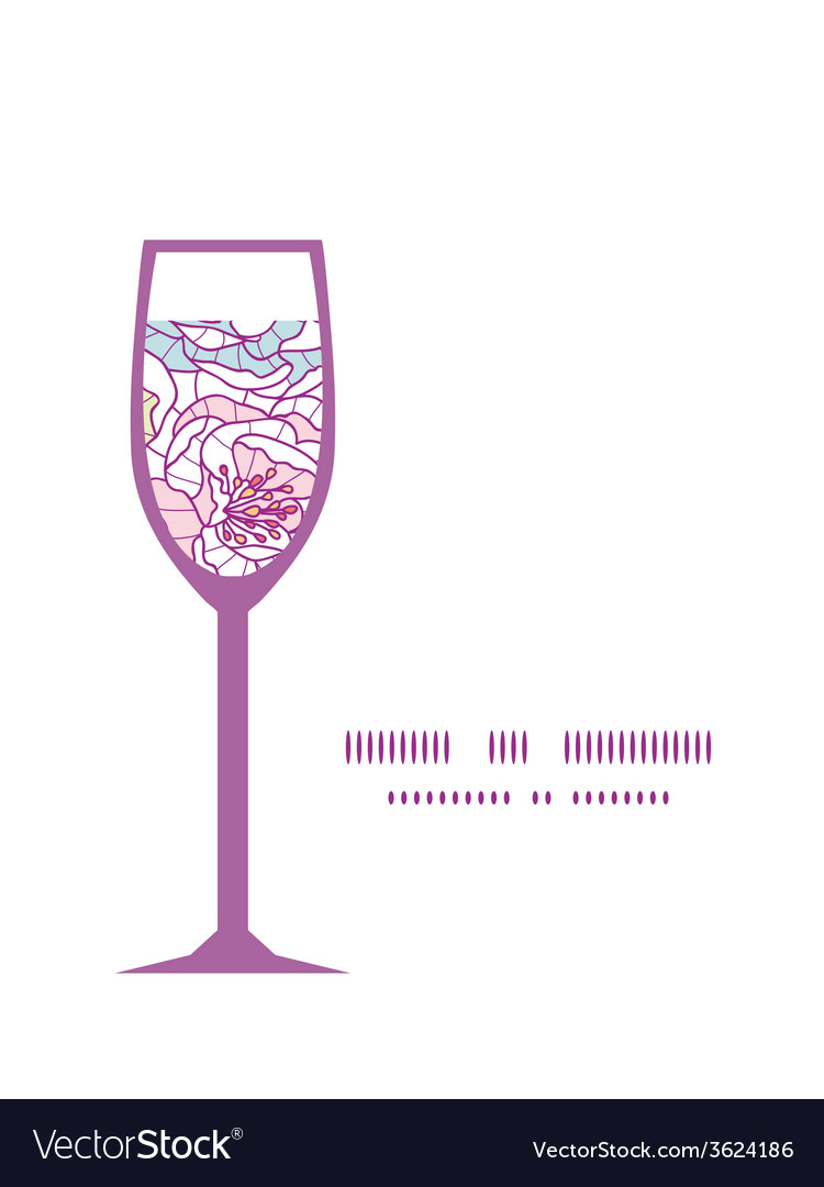 Colorful line art flowers wine glass silhouette vector | Price: 1 Credit (USD $1)
