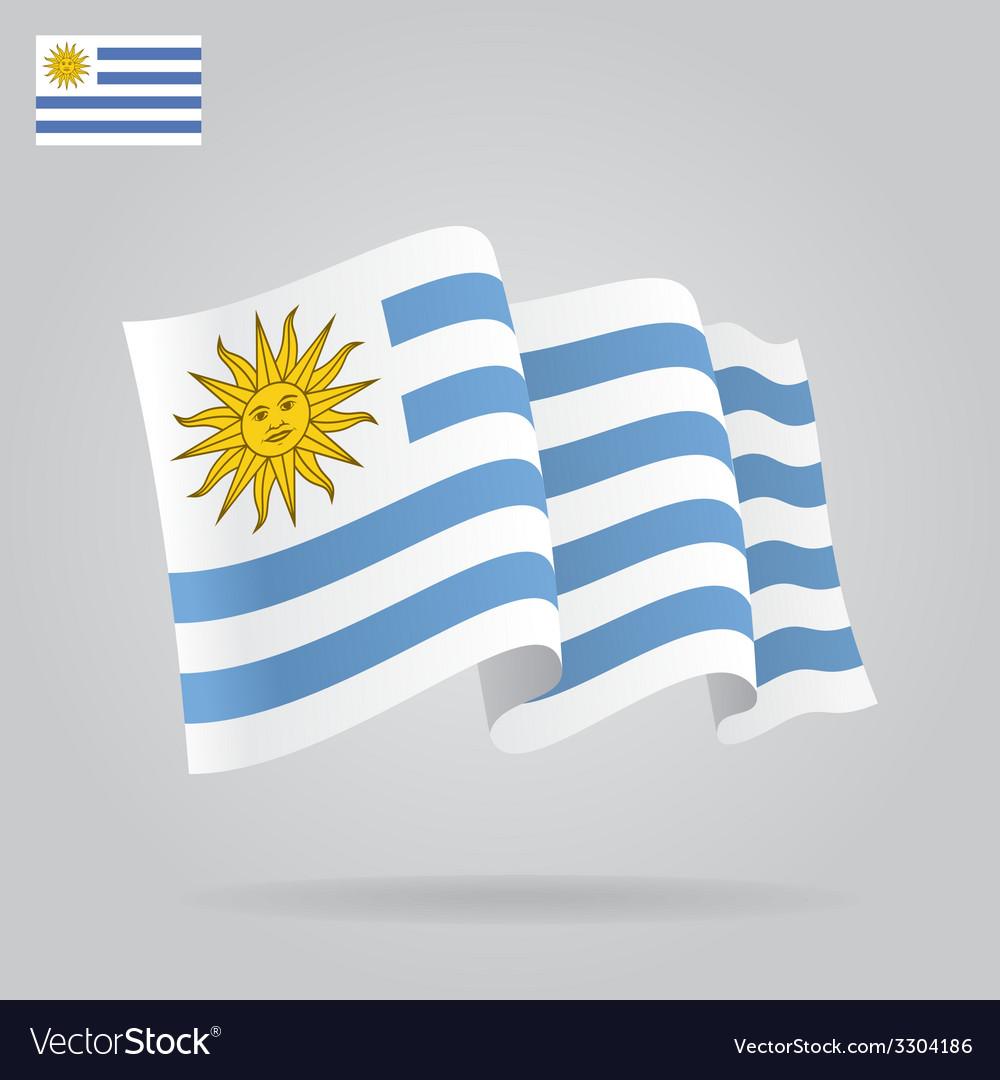 Flat and waving uruguayan flag vector | Price: 1 Credit (USD $1)