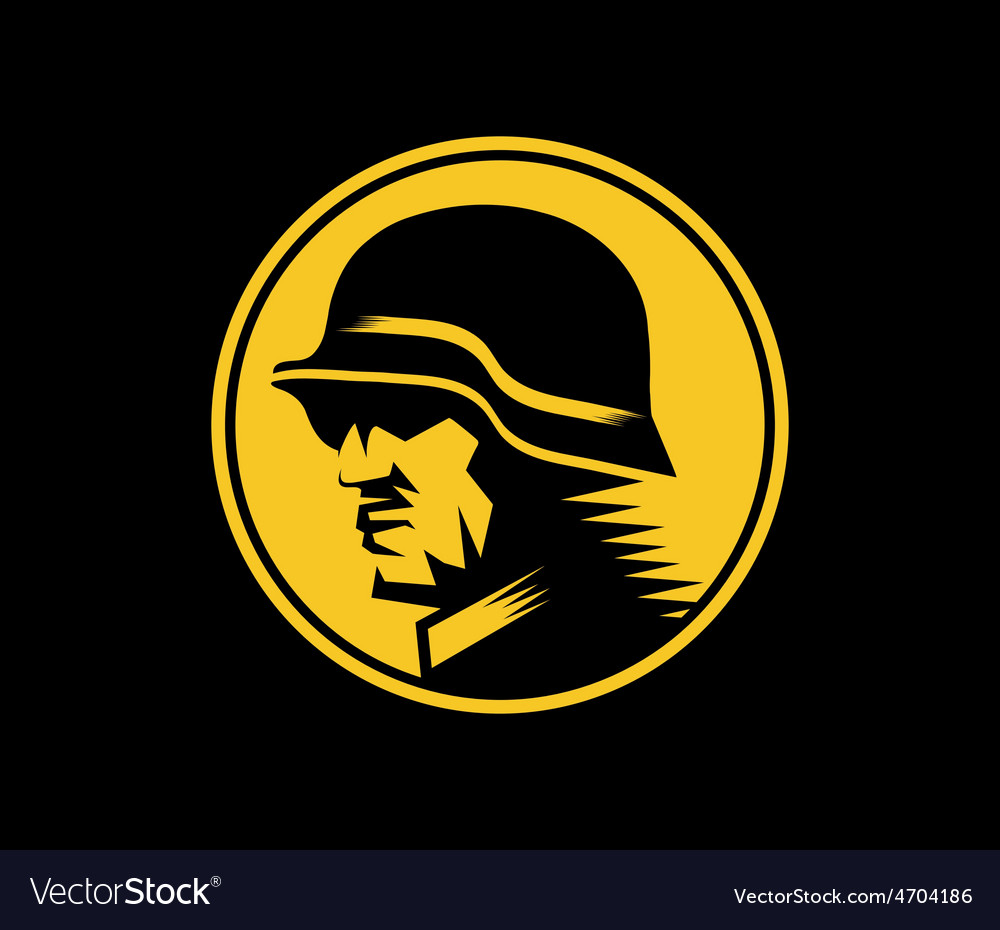 German soldier mascot label vector
