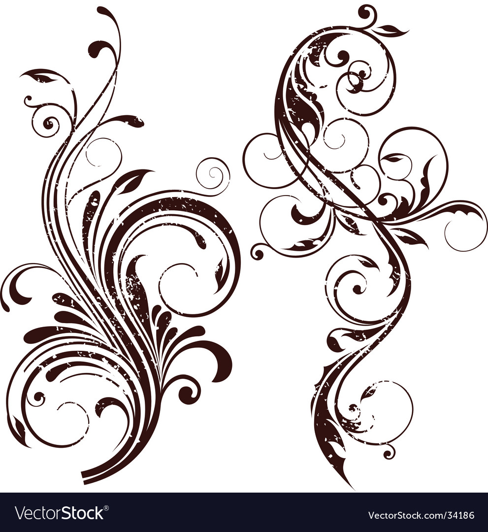 Grunge floral element vector | Price: 1 Credit (USD $1)